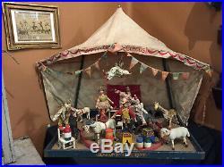 Antique Schoenhut Humpty Dumpty Circus Tent with 28 People, Animals, Accessories
