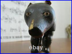Antique Schoenhut Wooden Jointed BLACK BEAR Circus Animal Painted Eyes m