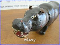 Antique Schoenhut Wooden Jointed HIPPO Circus Animal Painted Eyes m