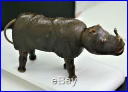 Antique Schoenhut Wooden Rhinoceros Toy Animal / Humpty Dumpty Circus
