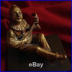 Antique Venice Clown Harlequin Guitar Music Bronze Figure Statue Italy Circus