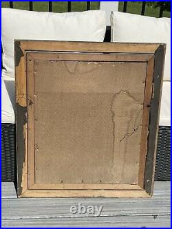 Antique Victorian Era Circus Lion Stone Lithograph Original Cage Frame