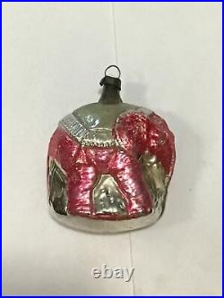 Antique Vintage Circus Elephant German Glass Christmas Ornament Red & Gold