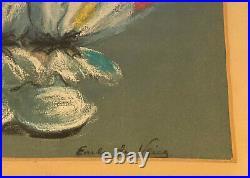 Antique Vintage Original Signed Pastel Painting Circus Clown Earle de Vries