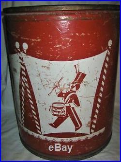 Antique Vintage USA Circus Dog Toy Barrel Clown Drum Chest Seat Storage Art Box