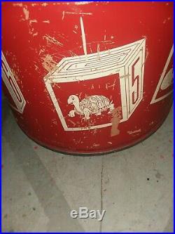 Antique Vintage USA Circus Dog Toy Barrel Clown Drum Chest Seat Storage Box Lrg