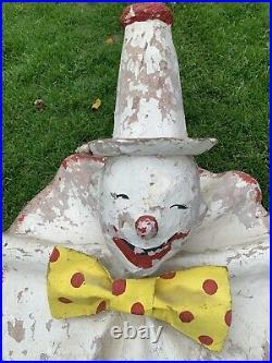 Antique Vtg 20s 30s Clown Carnival Game Paper Mache Circus Minstrel Folk Art