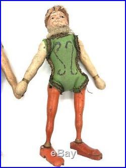 Antique Wooden Schoenhut 8 Inch Circus Dolls Acrobats Male Female Pair