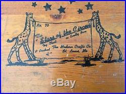 Antique Wooden Toy Box Circus Theme Rare 1950s Toy Chest Circus Parade