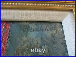 Antique Wpa Ashcan Style Oil Painting Art Deco Circus Rare Portrait Old Buchholz