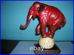 Antique circus elephant pachyderm single bookend Armor Bronze clad, orig tusks
