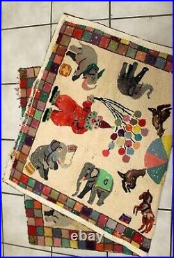 Antique or Vintage folk art hooked rug animals and clowns 60 by 38 Circus