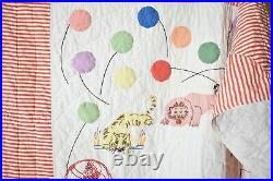 BEAUTIFUL Vintage 30's Pictorial Applique Crib Quilt Circus Animals & Balloons