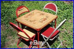 Bekins VTG Mid Century Circus Theme Kids Table / Chair Indoor/Outdoor Set RARE