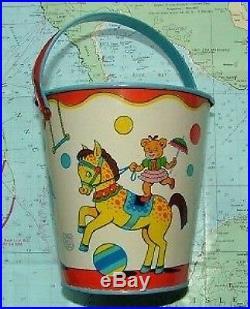 C1950 Tin Seaside Circus Sand Pail Bucket Chien USA