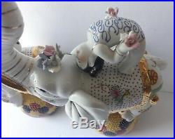 Ceramic Satsuma Circus Elephant Pair Vintage Antique Japanese Art Sculptures