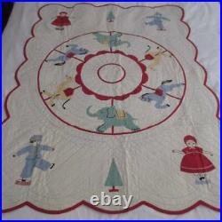 Charming Vintage Crib Applique QUILT Carousol Circus Fun! 45x33