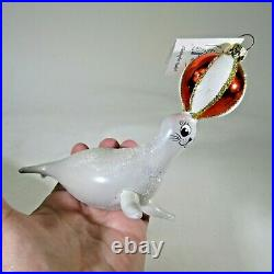 Christopher RADKO vintage 1993 Italian CIRCUS SEAL glass Ornament 93-249 with TAG