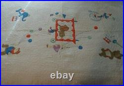 Circus Clown Elephant Lion Child Baby Crib Vintage Quilt Handmade Large 46X64
