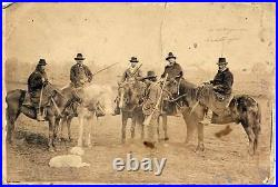 Cowboys on horse with rifles and dog Buffalo Bill circus Large albumen 1880c