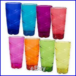 CreativeWare Circus 24-oz. Multi-Colored Plastic Kitchen Tumblers, Set of 8 Cups