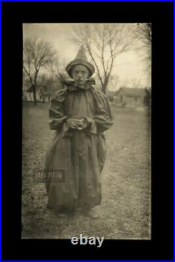 Creepy Kid Circus Clown Antique 1910s Halloween Costume RPPC Photo Black & White