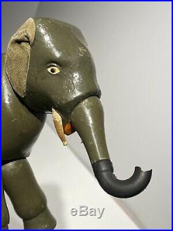 Early Antique Schoenhut Wooden Jointed Circus Elephant Fantastic Condition NM+