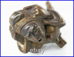 Fine Antique French Bronze Cigar Table Lighter Circus Performer Blowing Fire