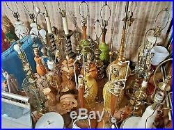 Flower Power LAMPS mid century MODERN carnival CIRCUS wood FOLK ART 1960 70's