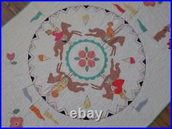 Gorgeous! Vintage 30s Applique Circus Carousel Baby Crib QUILT Such Detail