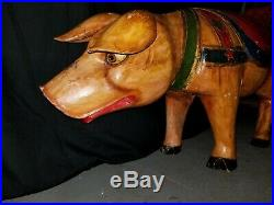 Life Sized Wooden Circus Pig Carousel Statue Wood Piglet Polychrome Painted