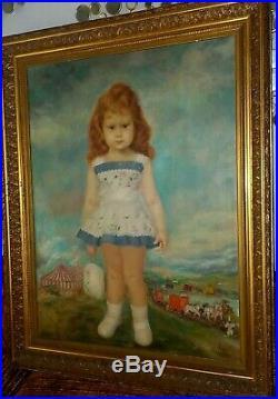 Lrg 37x48 Vintage 1963 Antonio Gantes Portrait Child Girl with Circus Oil Painting