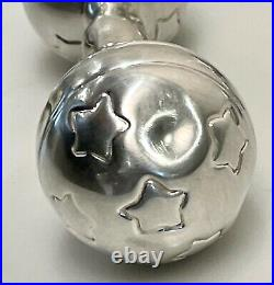 Matching Pair 2 Vintage Tiffany & Co. Sterling Silver Baby Rattle Circus Bears