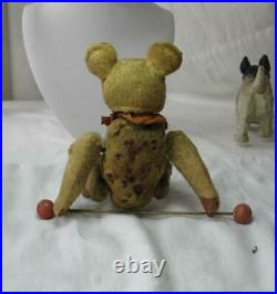Mechanical Teddy Bear Flip Toy Antique Fully Jointed 6 c1930 Circus Trapeze Bar