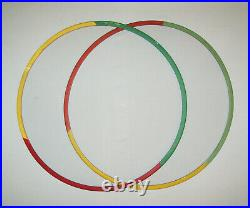 Old Antique Vtg Ca 1920s Two Folk Art Carved Wooden Circus Hoops Original Paint