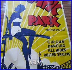 Olympic Park Irvington N. J. Large Vintage Poster Circus Dancing Roller Skating