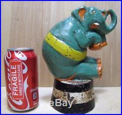 Orig c1930 Circus Elephant on Barrel Taylor Cook No2 Cast Iron Figural Doorstop