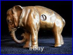 Original Antique Piggy Bank Cast Iron Jumbo Elephant Circus Bank Ex. Cond