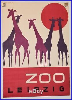 Original German Vintage Poster ZOO LEIPZIG Giraffe 1964