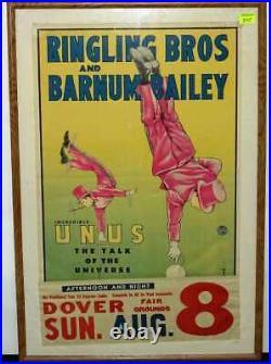 Original Vintage 1948 Ringling Bros and Barnum Bailey Poster Incredible Unus