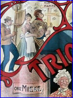 Original Vintage French Circus Trio Barona Poster Circa 1910