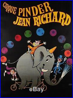 Original Vintage French Poster Cirque Pinder Jean Richard by Hervé Morvan