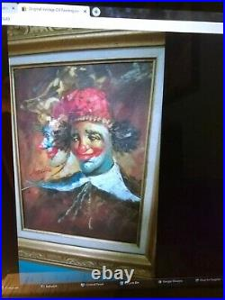 Original Vintage Oil Painting on Canvas Circus Clown Signed. Double Framed