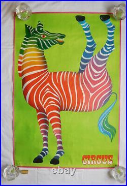 Original Vintage Polish Circus Zebra Poster 112 Hubert Hilscher 79 KAW Desa HTF