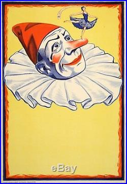 Original Vintage Poster Clown on Yellow Background 1930s Circus Troupe Ad
