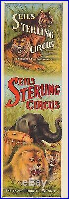 Original Vintage Poster Sells Sterling Circus Elephant Lion Tiger Camel