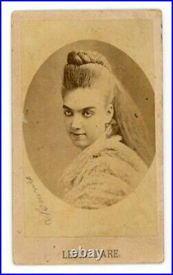 Original antique CDV 1870s LEONA DARE trapeze artist & circus legend RARE photo