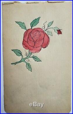 Original antique vintage tattoo flash 1900 wh wilson red rose love circus 4x7