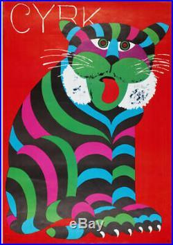 Original vintage Polish circus poster 1971 (sitting tiger) by Hilschner