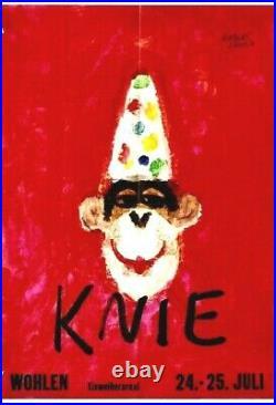 Original vintage poster KNIE CIRCUS CHIMPANSE CLOWN c. 1959